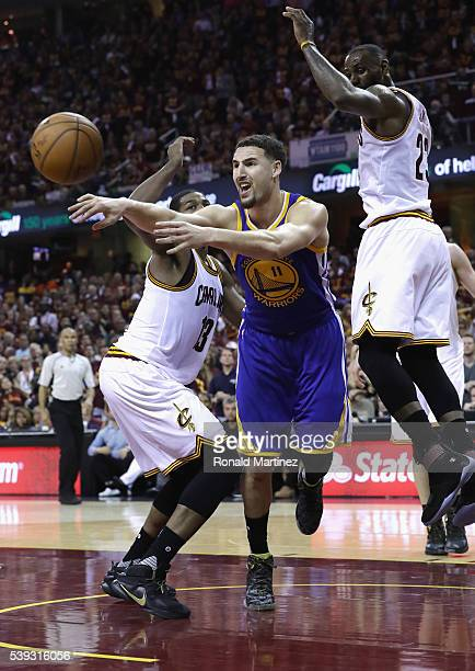 Klay Thompson of the Golden State Warriors passes the ball during the first half against the Cleveland Cavaliers in Game 4 of the 2016 NBA Finals at...