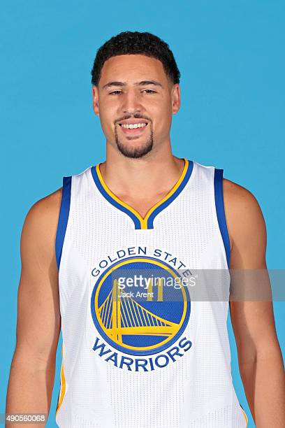 Klay Thompson of the Golden State Warriors poses for a head shot during media day on September 28 2015 at the Warriors practice facility in Oakland...