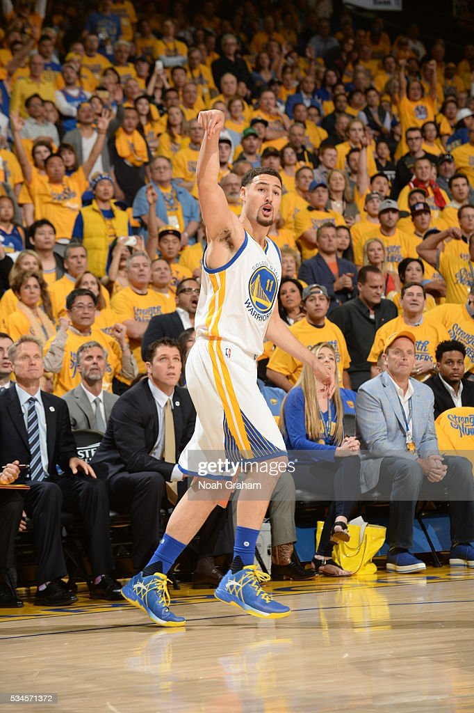 <a gi-track='captionPersonalityLinkClicked' href=/galleries/search?phrase=Klay+Thompson&family=editorial&specificpeople=5132325 ng-click='$event.stopPropagation()'>Klay Thompson</a> #11 of the Golden State Warriors reacts after a play against the Oklahoma City Thunder during Game Five of the Western Conference Finals during the 2016 NBA Playoffs on May 26, 2016 at ORACLE Arena in Oakland, California.