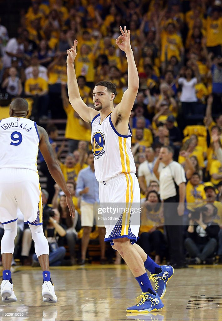 Klay Thompson #11 of the Golden State Warriors reacts after he made a three-point basket at the end of the first quarter against the Portland Trail Blazers during Game One of the Western Conference Semifinals for the 2016 NBA Playoffs at ORACLE Arena on May 01, 2016 in Oakland, California.