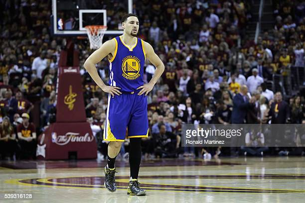 Klay Thompson of the Golden State Warriors reacts during the first half against the Cleveland Cavaliers in Game 4 of the 2016 NBA Finals at Quicken...