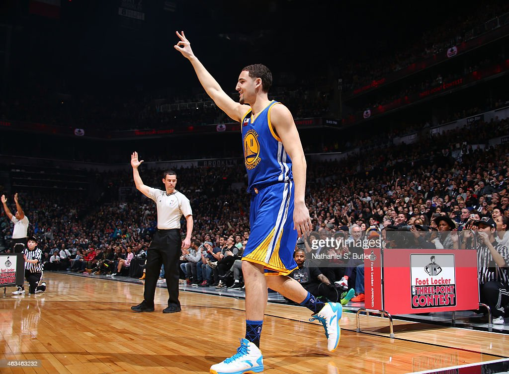 Klay Thompson of the Golden State Warriors reacts during the Foot Locker Three Point Contest on State Farm AllStar Saturday Night as part of the 2015...