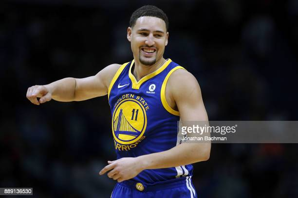 Klay Thompson of the Golden State Warriors reacts during the second half of a game against the New Orleans Pelicans at the Smoothie King Center on...