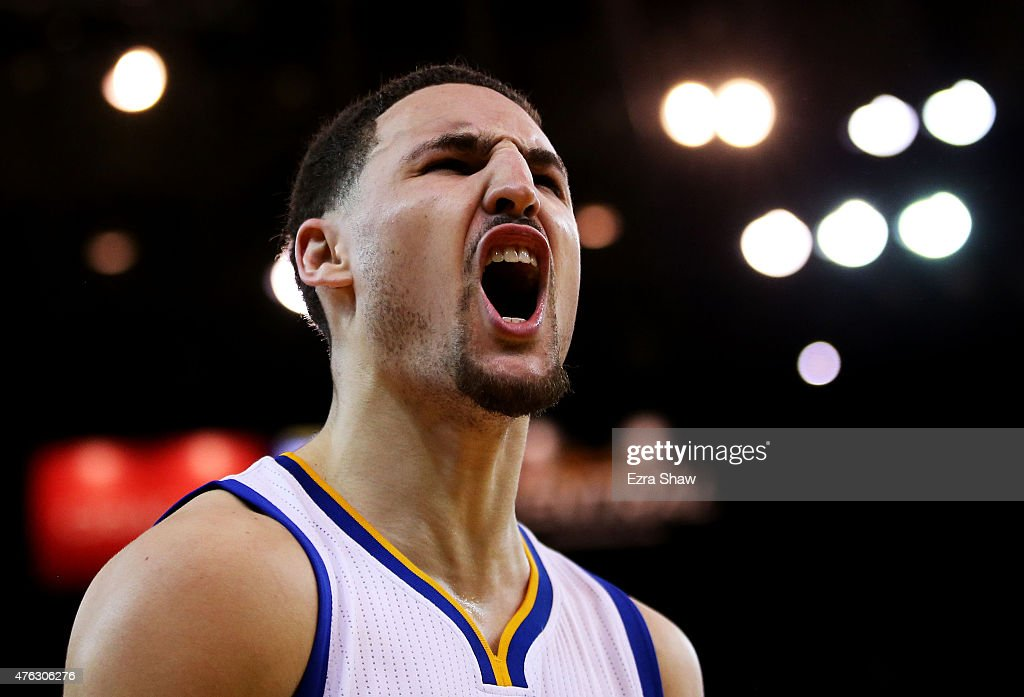 <a gi-track='captionPersonalityLinkClicked' href=/galleries/search?phrase=Klay+Thompson&family=editorial&specificpeople=5132325 ng-click='$event.stopPropagation()'>Klay Thompson</a> #11 of the Golden State Warriors reacts in the fourth quarter against the Cleveland Cavaliers during Game Two of the 2015 NBA Finals at ORACLE Arena on June 7, 2015 in Oakland, California.
