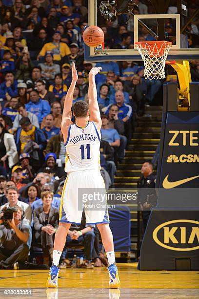 Klay Thompson of the Golden State Warriors shoots a foul shot against the Indiana Pacers on December 5 2016 at ORACLE Arena in Oakland California...