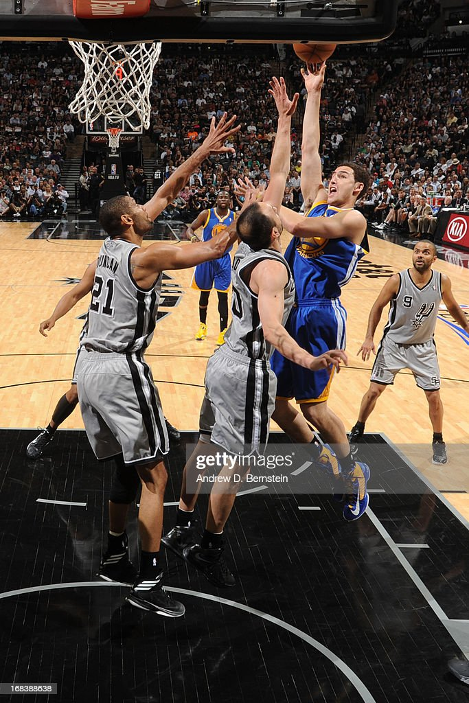 <a gi-track='captionPersonalityLinkClicked' href=/galleries/search?phrase=Klay+Thompson&family=editorial&specificpeople=5132325 ng-click='$event.stopPropagation()'>Klay Thompson</a> #11 of the Golden State Warriors shoots against the San Antonio Spurs in Game Two of the Western Conference Semifinals during the 2013 NBA Playoffs on May 8, 2013 at the AT&T Center in San Antonio, Texas.