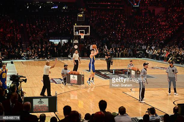 Klay Thompson of the Golden State Warriors shoots during the Foot Locker Three Point Contest on State Farm AllStar Saturday Night as part of the 2015...