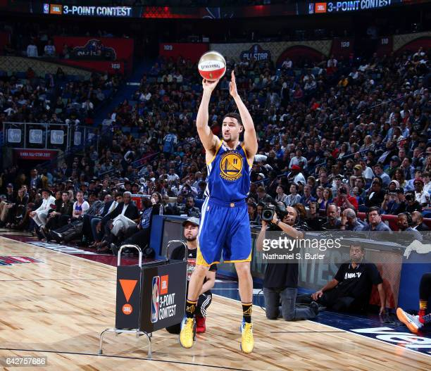 Klay Thompson of the Golden State Warriors shoots during the JBL ThreePoint Contest during State Farm AllStar Saturday Night as part of the 2017 NBA...