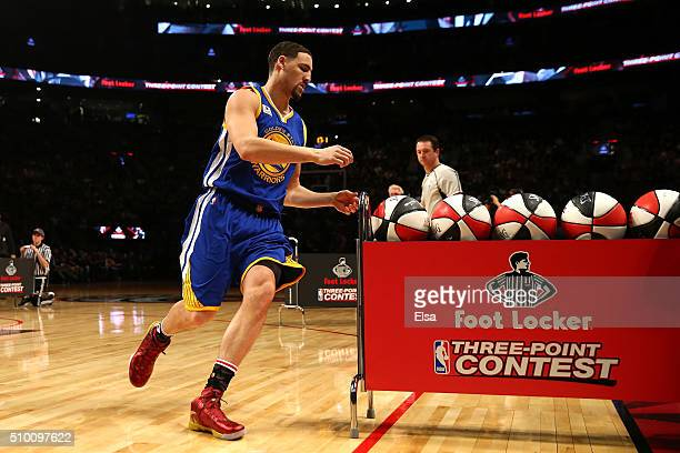 Klay Thompson of the Golden State Warriors shoots in the Foot Locker ThreePoint Contest during NBA AllStar Weekend 2016 at Air Canada Centre on...