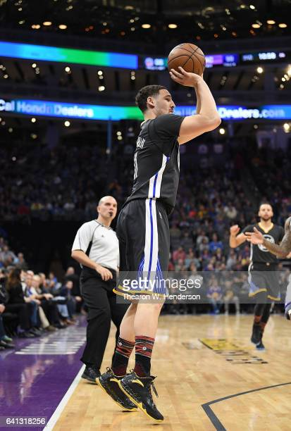 Klay Thompson of the Golden State Warriors shoots the ball against the Sacramento Kings during an NBA basketball game at Golden 1 Center on February...