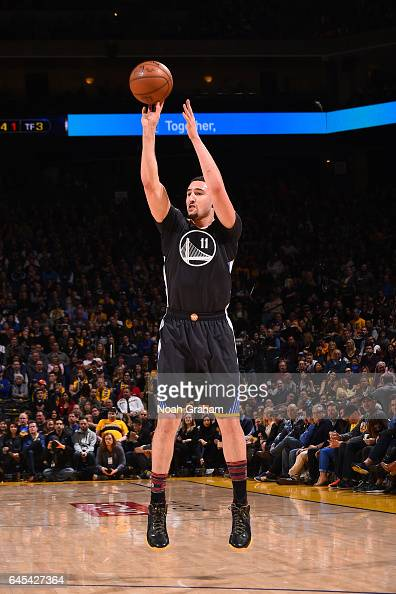 Klay Thompson of the Golden State Warriors shoots the ball against the Brooklyn Nets on February 25 2017 at ORACLE Arena in Oakland California NOTE...