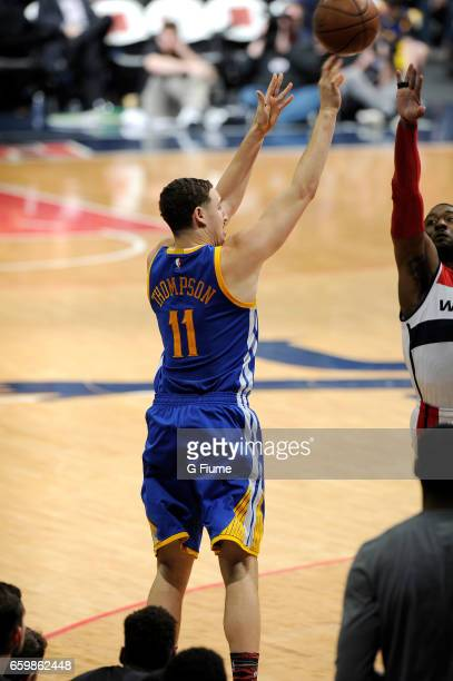 Klay Thompson of the Golden State Warriors shoots the ball against the Washington Wizards at Verizon Center on February 28 2017 in Washington DC