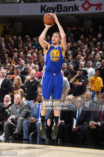 Klay Thompson of the Golden State Warriors shoots the ball against the Cleveland Cavaliers in Game Three of the 2017 NBA Finals on June 7 2017 at...