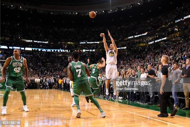 Klay Thompson of the Golden State Warriors shoots the ball against the Boston Celtics on November 16 2017 at the TD Garden in Boston Massachusetts...
