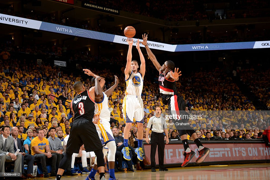 Klay Thompson #11 of the Golden State Warriors shoots the ball during the game against the Portland Trail Blazers in Game One of the Western Conference Semifinals during the 2016 NBA Playoffs on May 1, 2016 at ORACLE Arena in Oakland, California.