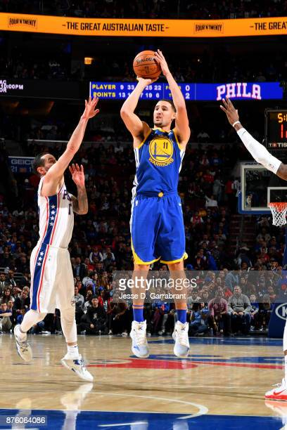 Klay Thompson of the Golden State Warriors shoots the ball during the game against the Philadelphia 76ers on November 18 2017 at Wells Fargo Center...