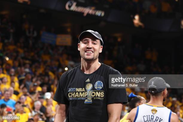 Klay Thompson of the Golden State Warriors smiles and celebrates after winning Game Five of the 2017 NBA Finals against the Cleveland Cavaliers on...