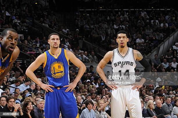 Klay Thompson of the Golden State Warriors stands on the court during a game against Danny Green of the San Antonio Spurs on April 5 2015 at the ATT...