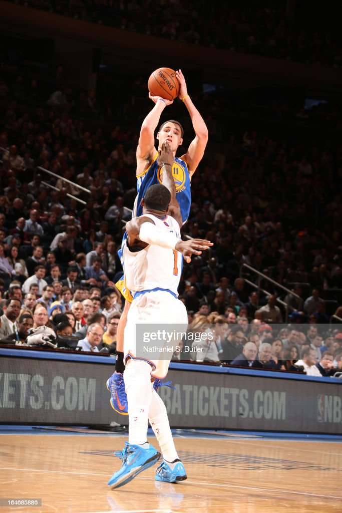 <a gi-track='captionPersonalityLinkClicked' href=/galleries/search?phrase=Klay+Thompson&family=editorial&specificpeople=5132325 ng-click='$event.stopPropagation()'>Klay Thompson</a> #11 of the Golden State Warriors takes a shot against the New York Knicks on February 27, 2013 at Madison Square Garden in New York City.