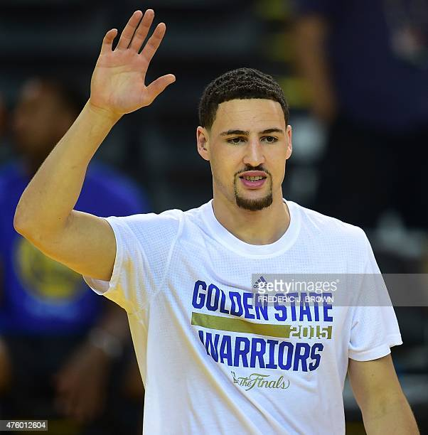 Klay Thompson of the Golden State Warriors waits for the ball during a practice session on June 5 in Oakland California a day after the Warriors...
