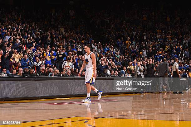 Klay Thompson of the Golden State Warriors walks off the court during the game against the Indiana Pacers on December 5 2016 at ORACLE Arena in...