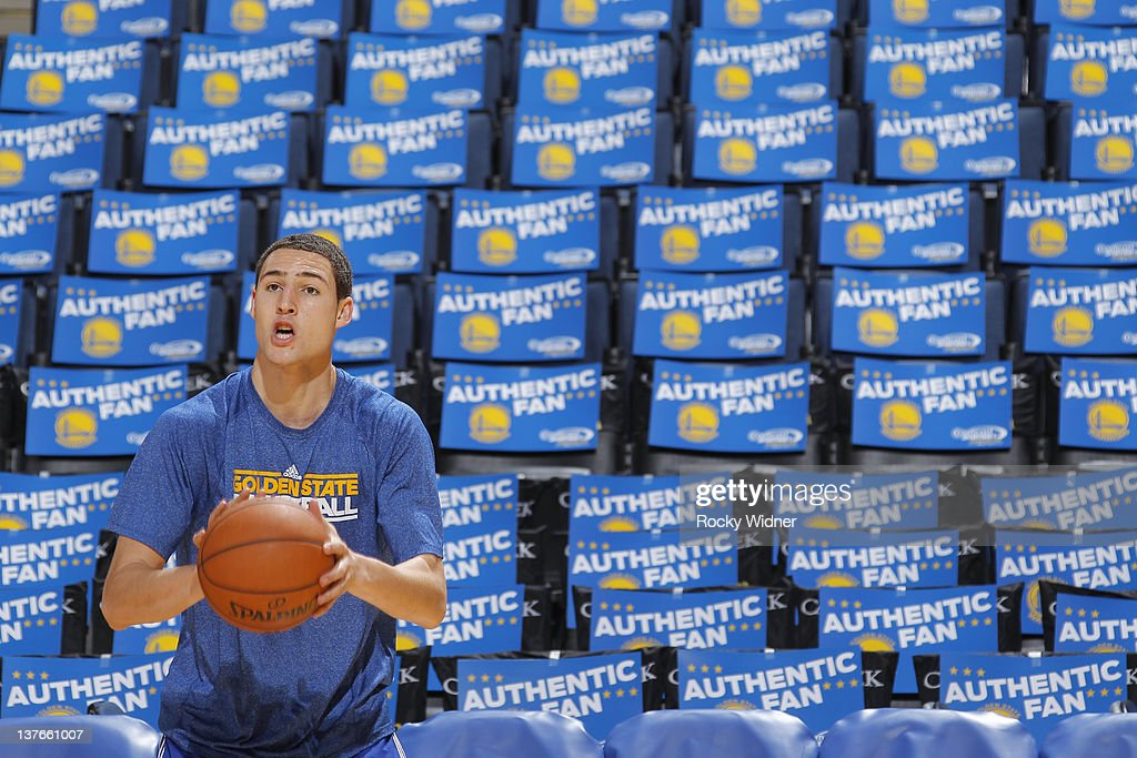 Klay Thompson #11 of the Golden State Warriors warms up before a game against the Indiana Pacers on January 20, 2012 at Oracle Arena in Oakland, California.