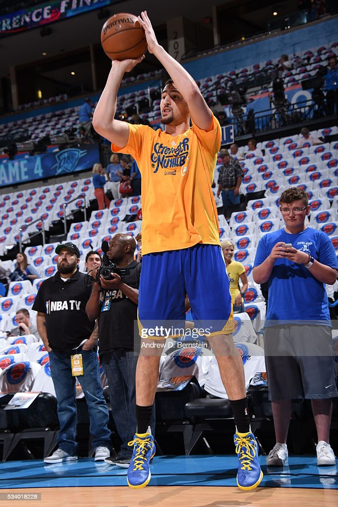<a gi-track='captionPersonalityLinkClicked' href=/galleries/search?phrase=Klay+Thompson&family=editorial&specificpeople=5132325 ng-click='$event.stopPropagation()'>Klay Thompson</a> #11 of the Golden State Warriors warms up before facing the Oklahoma City Thunder for Game Four of the Western Conference Finals during the 2016 NBA Playoffs on May 24, 2016 at Chesapeake Energy Arena in Oklahoma City, Oklahoma.