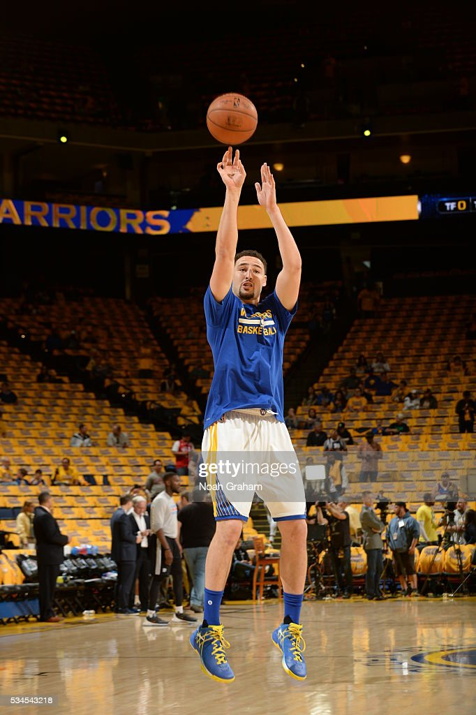 <a gi-track='captionPersonalityLinkClicked' href=/galleries/search?phrase=Klay+Thompson&family=editorial&specificpeople=5132325 ng-click='$event.stopPropagation()'>Klay Thompson</a> #11 of the Golden State Warriors warms up before facing the Oklahoma City Thunder for Game Five of the Western Conference Finals during the 2016 NBA Playoffs on May 26, 2016 at ORACLE Arena in Oakland, California.