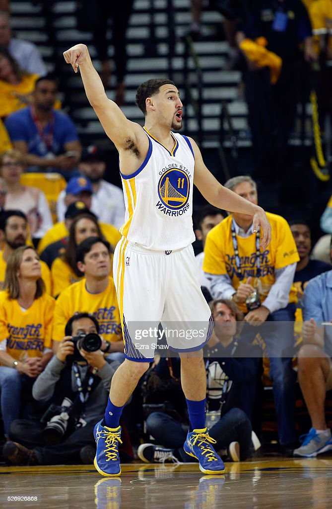 Klay Thompson #11 of the Golden State Warriors watches a basket go in during their game against the Portland Trail Blazers during Game One of the Western Conference Semifinals for the 2016 NBA Playoffs at ORACLE Arena on May 01, 2016 in Oakland, California.