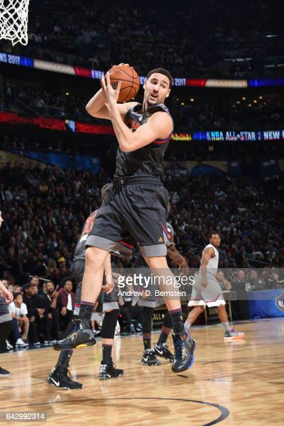 Klay Thompson of the Western Conference AllStar Team grabs the rebound against the Eastern Conference AllStar Team during the NBA AllStar Game as...