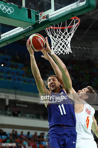Klay Thompson of United States goes to the basket against Pau Gasol of Spain during the Men's Semifinal match on Day 14 of the Rio 2016 Olympic Games...
