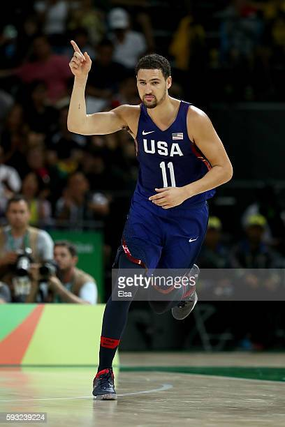 Klay Thompson of United States reacts after a shot against Serbia during the Men's Gold medal game on Day 16 of the Rio 2016 Olympic Games at Carioca...