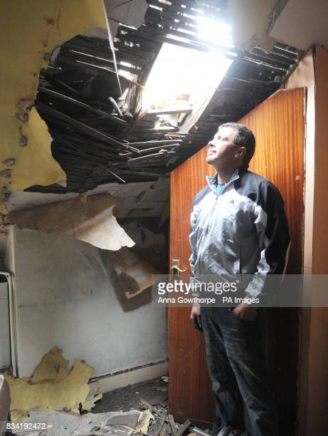Kleber Afonso in his bedroom in Barnsley Road Wombwell where part of the roof collapsed during last night's earthquake the tremor hit at around 1am...