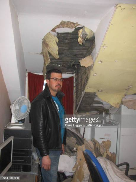 Kleber Afonso in the attic of his house next door to the one where David Bates was injured in Wombwell Barnsley after earthquake with a magnitude of...