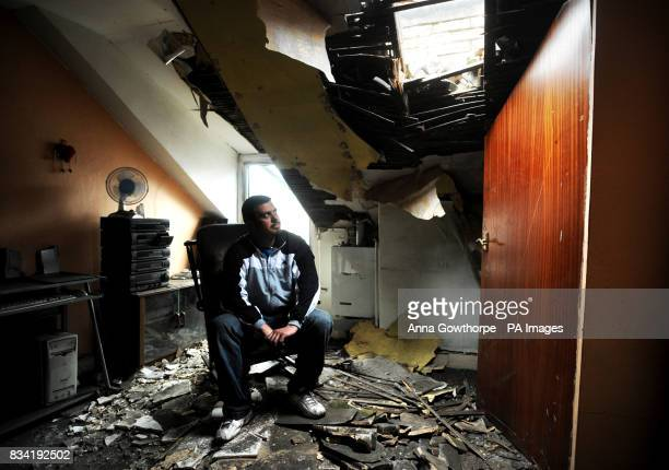 Kleber Afonso sits in his bedroom in Barnsley Road Wombwell where part of the roof collapsed during last night's earthquake the tremor hit at around...