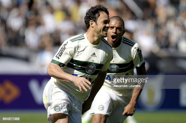 Kleber of Coritiba celebrates a scored goal with William Matheus during the match between Botafogo and Coritiba as part of Brasileirao Series A 2017...