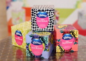 Kleenex brand products on display in Grand Central Station at a reveal event for its exclusive fashion inspired designs created by Isaac Mizrahi on...