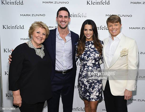 Kleinfeld coowner Mara Urshel television personalities Josh Murray Andi Dorfman and Kleinfeld Bridal Fashion Director Terry Hall attend front row at...
