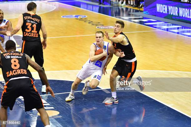 Klemen Prepelic of Levallois and Filip Kruslin of Cedevita Zagreb during the EuropCup match between Levallois Metropolitans and Cedevita Zagreb at...