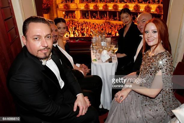 Klemens Hallmann guest Jean Nouvel and Barbara Meier during the Opera Ball Vienna at Vienna State Opera on February 23 2017 in Vienna Austria