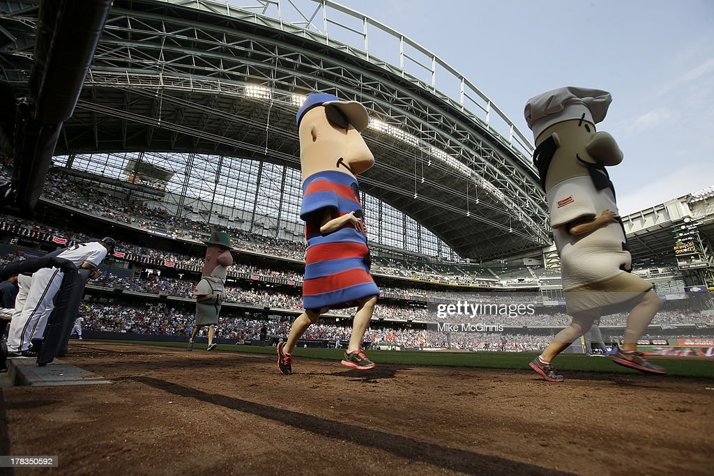 Klements Sausage Races during the game between the Milwaukee Brewers and the St. Louis Cardinals at Miller Park on August 21, 2013 in Milwaukee, Wisconsin.