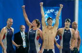 Klete Keller Michael Phelps Ryan Lochte and Peter Vanderkaay of USA celebrates after they won the men's swimming 4 x 200 metre freestyle relay final...