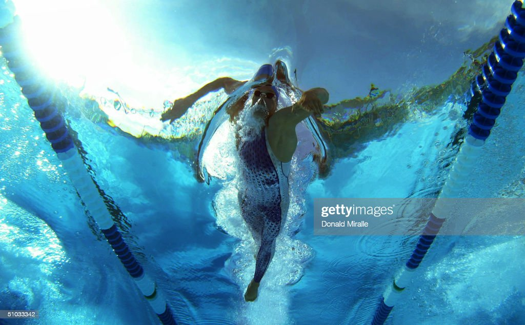 Klete Keller swims to a American Record en route to winning the Men's 400M Freesyle Final during the US Olympic Trials of Swimming on July 7 2004 at...