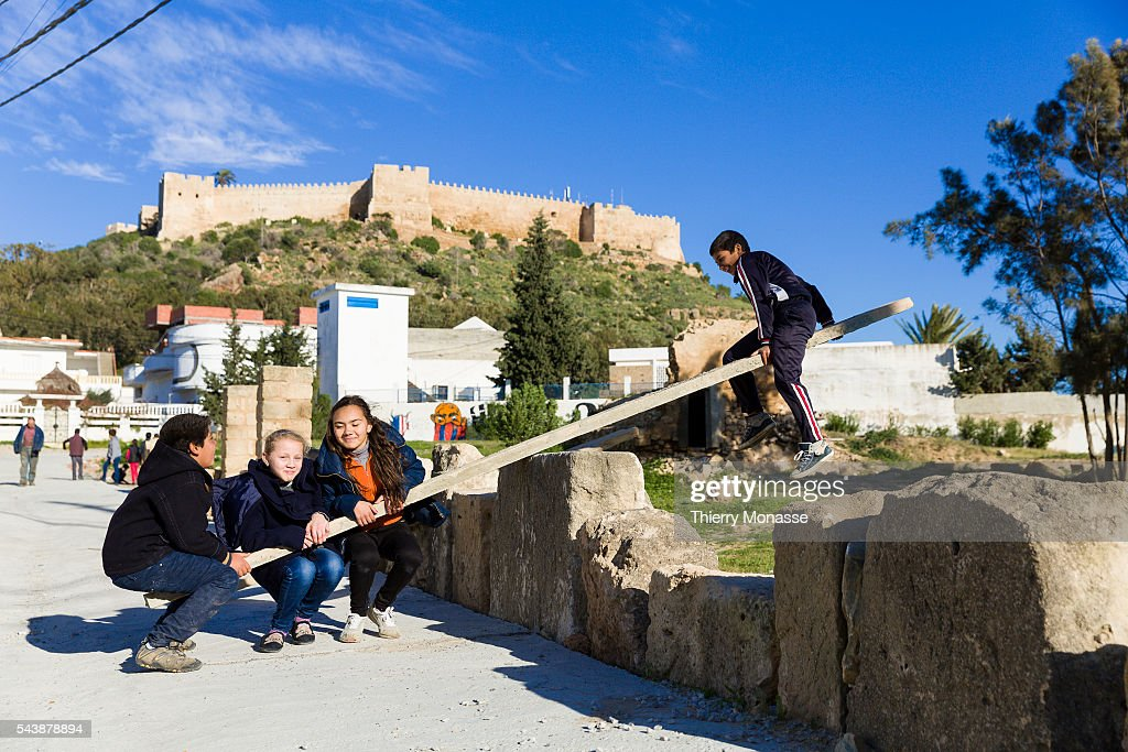 Kélibia Nabeul Governorate Tunisia January 10 2015 Childs playing with a swing