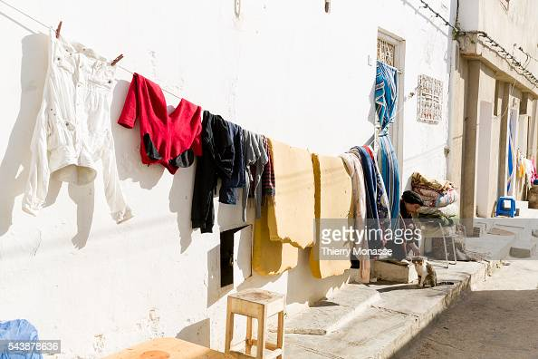 Kélibia Nabeul Governorate Tunisia January 10 2015 Cloth are drying while a woman plays with a cat in Kelibia