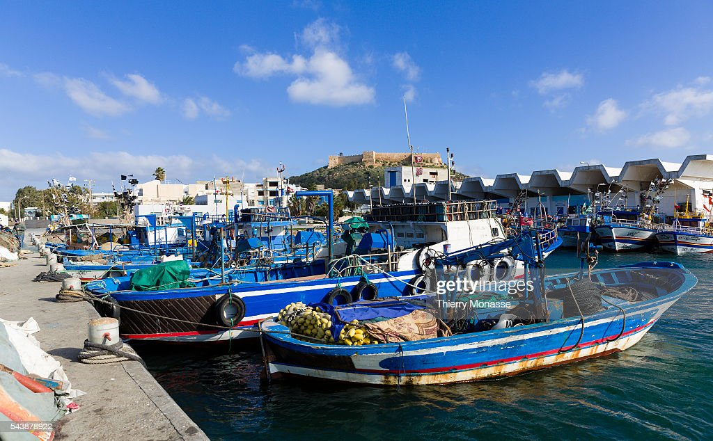 Kélibia Nabeul Governorate Tunisia January 10 2015 Fishermen works on their boat