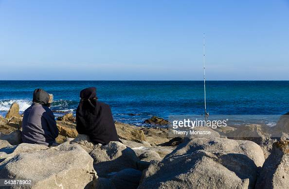 Kélibia Nabeul Governorate Tunisia January 10 2015 Men are fishing in the Mediterranean Sea