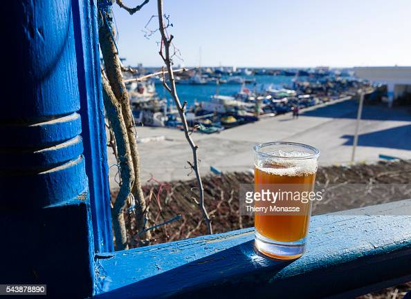 Kélibia Nabeul Governorate Tunisia January 10 2015 Mint tea in front of the Harbour