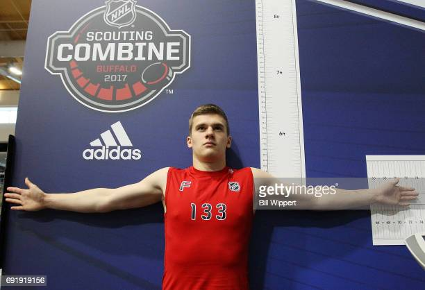 Klim Kostin has his Wingspan measured during the NHL Combine at HarborCenter on June 3 2017 in Buffalo New York