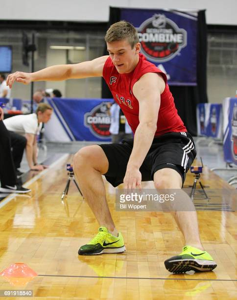 Klim Kostin performs the Pro Agility test during the NHL Combine at HarborCenter on June 3 2017 in Buffalo New York